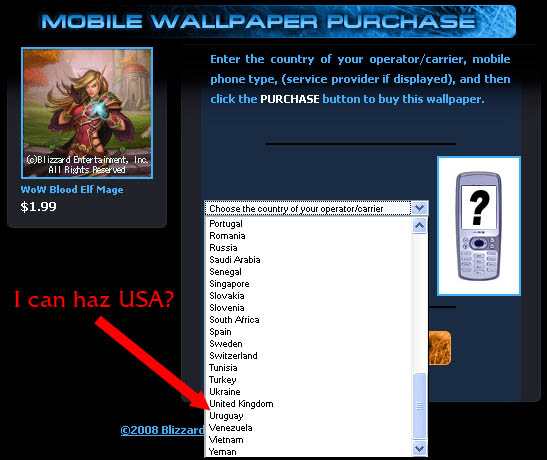 Blizzard offers wallpapers/ringtones, just not to the USA